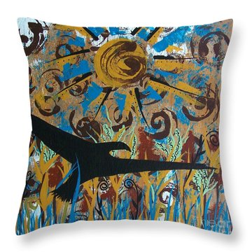 Crow Carrying Sun Medicine Throw Pillow
