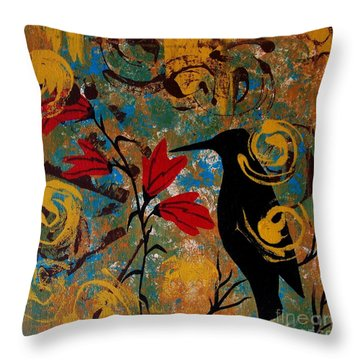 Crow Healing In The Ancient Garden Throw Pillow
