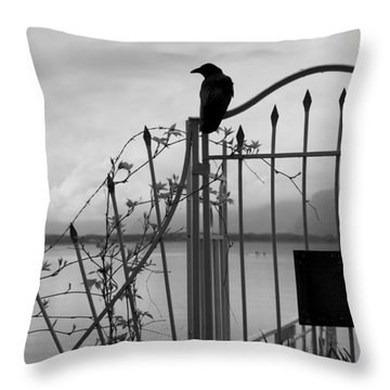 Crow On Gothic Gate Throw Pillow by Colleen Williams