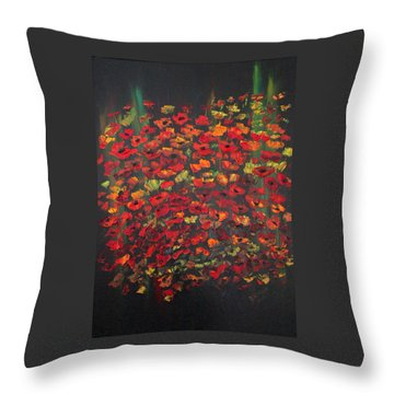 Crowd Of Poppies Throw Pillow