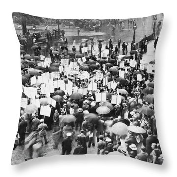 Crowd Protests Bank Failure Throw Pillow