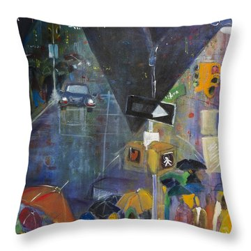 Crowded Intersection Throw Pillow