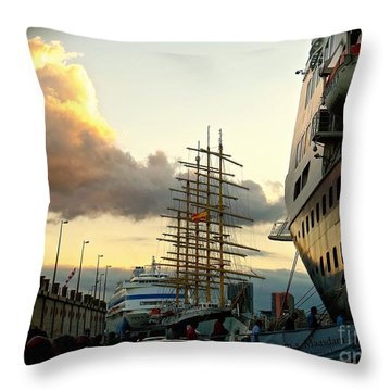 Crowded Pier Throw Pillow