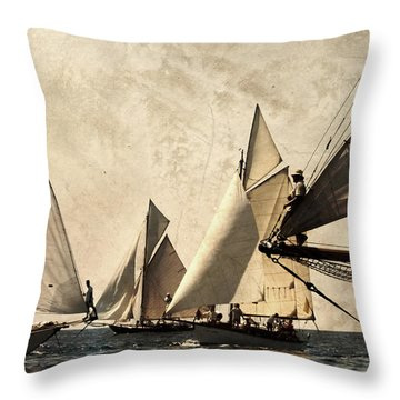 A Vintage Processed Image Of A Sail Race In Port Mahon Menorca - Crowded Sea Throw Pillow