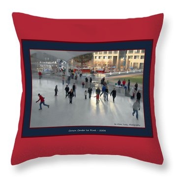 Crown Center Ice Rink Throw Pillow by Ellen Tully