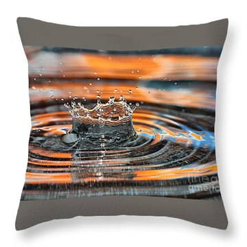 Crown Shaped Water Drop Macro Throw Pillow by Teresa Zieba