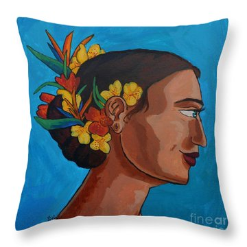 Crowned With Flowers Throw Pillow