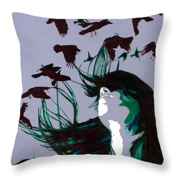 Crows Throw Pillow by Denise Deiloh
