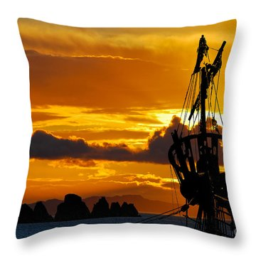 Crows Nest Silhouette On Newfoundland Coast Throw Pillow
