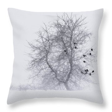 Crows On Tree In Winter Snow Storm Throw Pillow