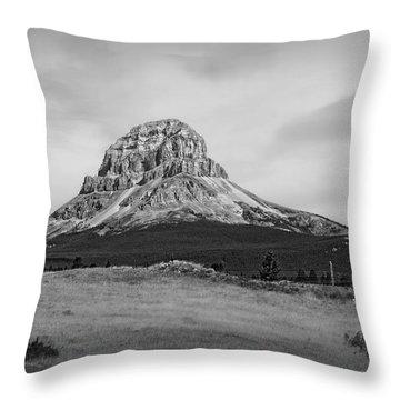 Crowsnest Mountain Black And White Throw Pillow
