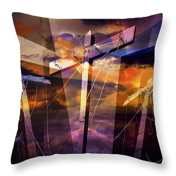 Crucifixion Crosses Composition From Clotheslines Throw Pillow by Randall Nyhof