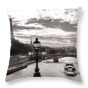 Cruise On The Seine Throw Pillow