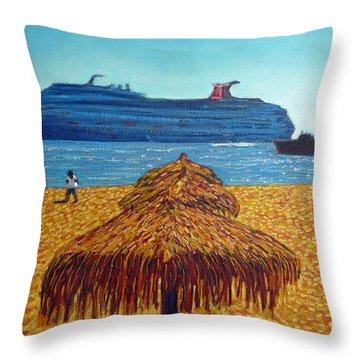 Cruise Ship With Umbrellas Throw Pillow