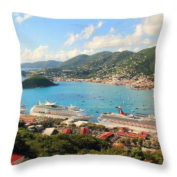 Cruise Ships In St. Thomas Usvi Throw Pillow