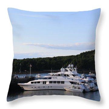 Cruiseships At Bar Harbor Throw Pillow by Dora Sofia Caputo Photographic Art and Design