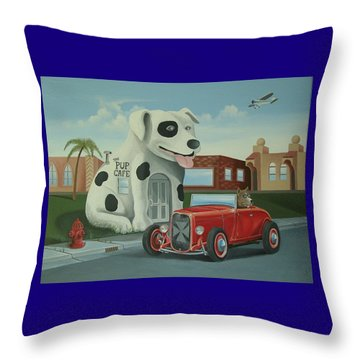 Cruisin' At The Pup Cafe Throw Pillow by Stuart Swartz