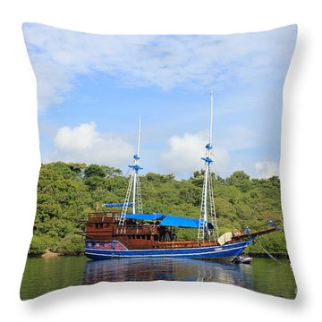 Cruising Yacht Throw Pillow by Sergey Lukashin
