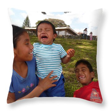 Crying And Laughing Throw Pillow by Eye Browses