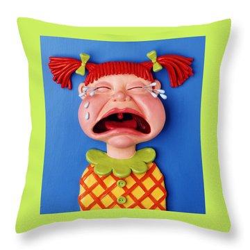 Crying Girl Throw Pillow by Amy Vangsgard