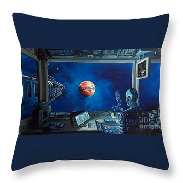 Crying Robot Throw Pillow by Murphy Elliott