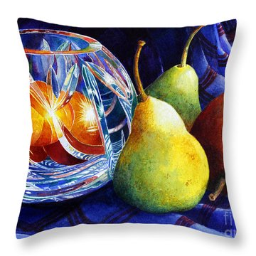 Throw Pillow featuring the painting Crystal And Pears by Roger Rockefeller