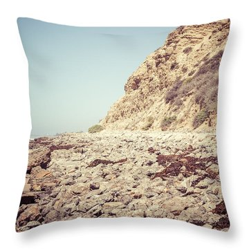 Crystal Cove State Park Cliff Picture Throw Pillow by Paul Velgos