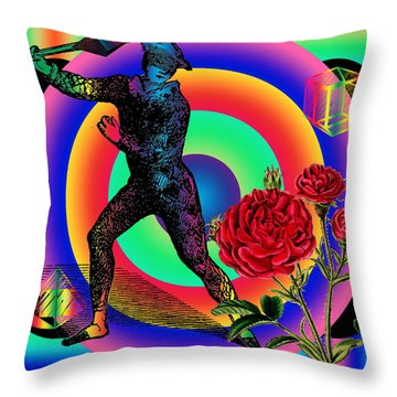 Crystal Harlequin Versus The Rose Throw Pillow