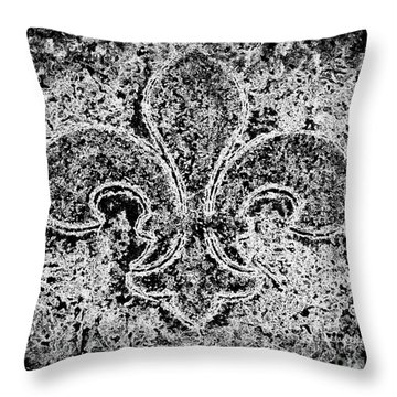 Crystal Ice Fleur De Lis On Black Throw Pillow by Janine Riley