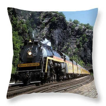 Chessie Steam Special At Harpers Ferry Throw Pillow