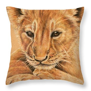 cub Throw Pillow by Heidi Kriel