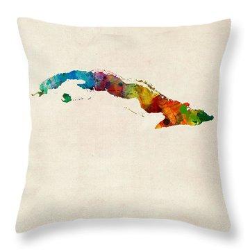 Cuba Watercolor Map Throw Pillow