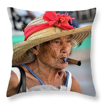 Cuban Lady Throw Pillow by Jola Martysz