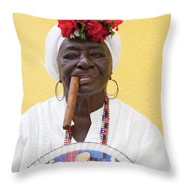 Cuban Lady Two Throw Pillow