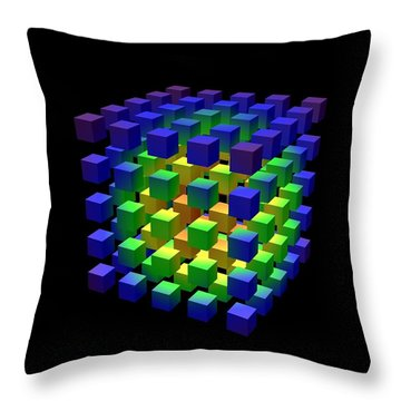 Throw Pillow featuring the digital art Cube Of Cubes... by Tim Fillingim