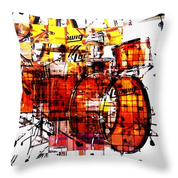 Cubist Drums Throw Pillow