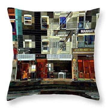 Shops Throw Pillow by Miriam Danar
