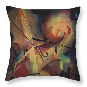 Cubist Play - Abstract Cello Throw Pillow by Susanne Clark