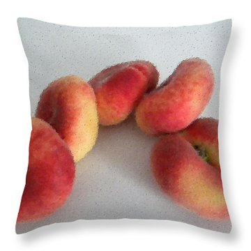 Cubist View Of Peento Peaches Throw Pillow by Manuela Constantin