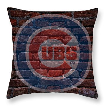 Cubs Baseball Graffiti On Brick  Throw Pillow