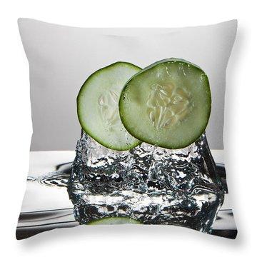 Cucumber Freshsplash Throw Pillow by Steve Gadomski