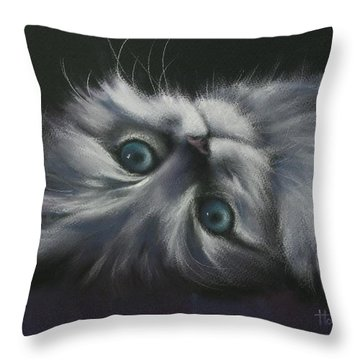Throw Pillow featuring the drawing Cuddles by Cynthia House