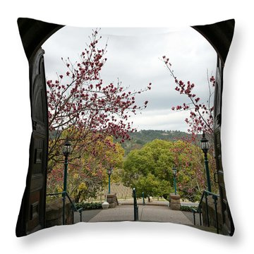 Culinary Institute Of America At Greystone Throw Pillow by Carol Lynn Coronios