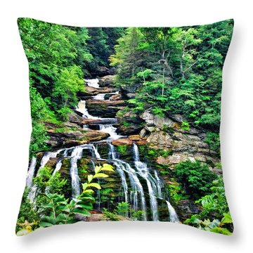 Throw Pillow featuring the photograph Cullasaja Falls by Kenny Francis