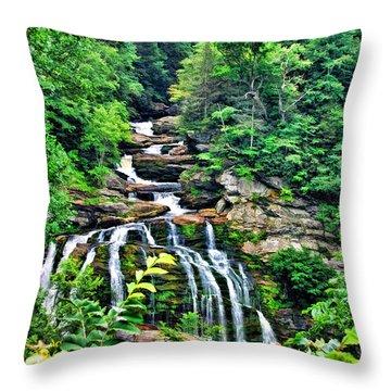Cullasaja Falls Throw Pillow by Kenny Francis