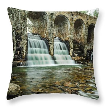 Cumberland Waterfall Throw Pillow by Debbie Green