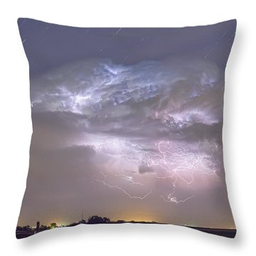 Cumulo-nimbus Lightning Storm And Star Trails Above Throw Pillow by James BO  Insogna