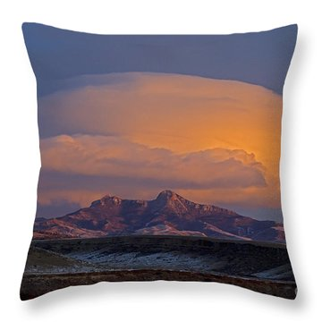 Cumulus Cloud Cap Over Heart Mountain   #2022 Throw Pillow by J L Woody Wooden