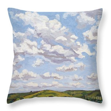 Throw Pillow featuring the painting Cumulus Clouds Over Flint Hills by Erin Fickert-Rowland