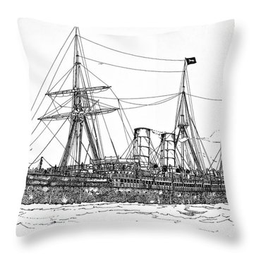 Throw Pillow featuring the drawing Cunard Liner Umbria 1880's by Ira Shander